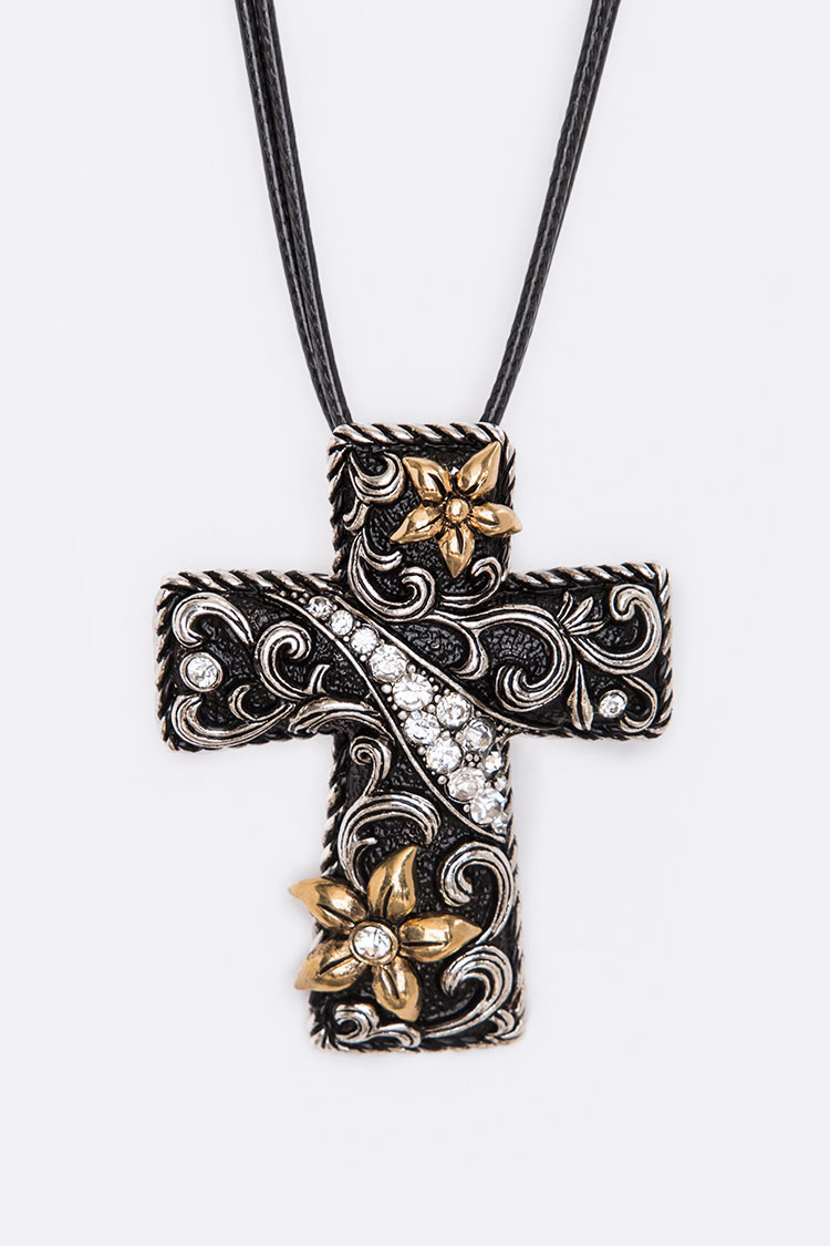 2 Tone Engraved Cross Pendant Necklace
