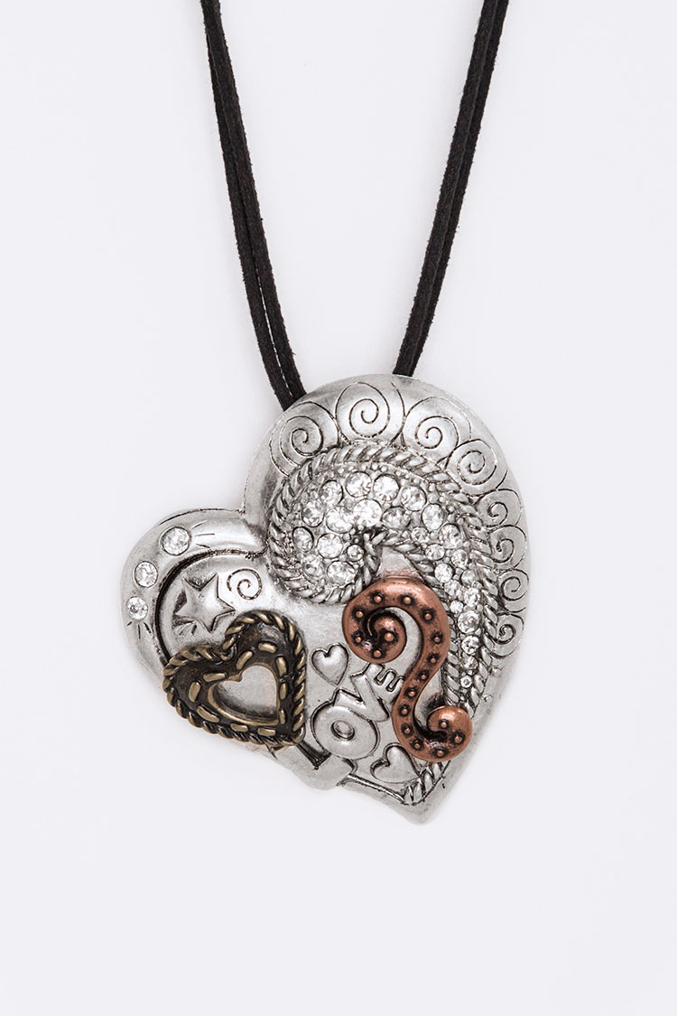 Crystal Engraved Heart Pendant Necklace