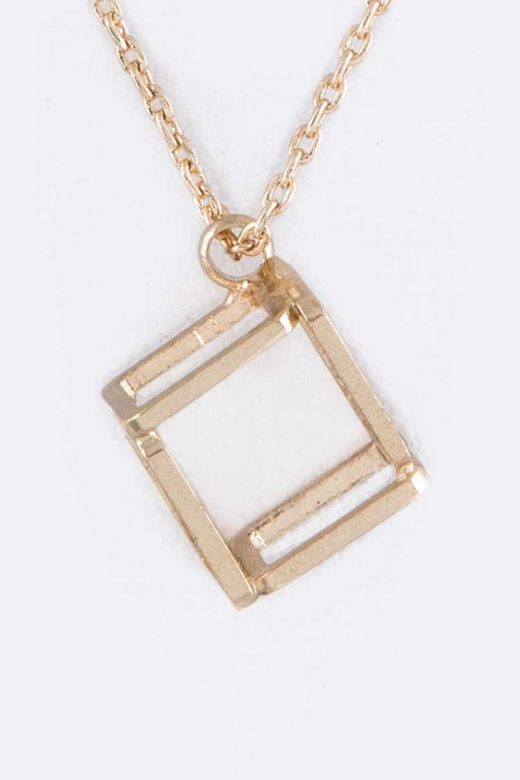 3D Cubic Frame Pendant Necklace Set