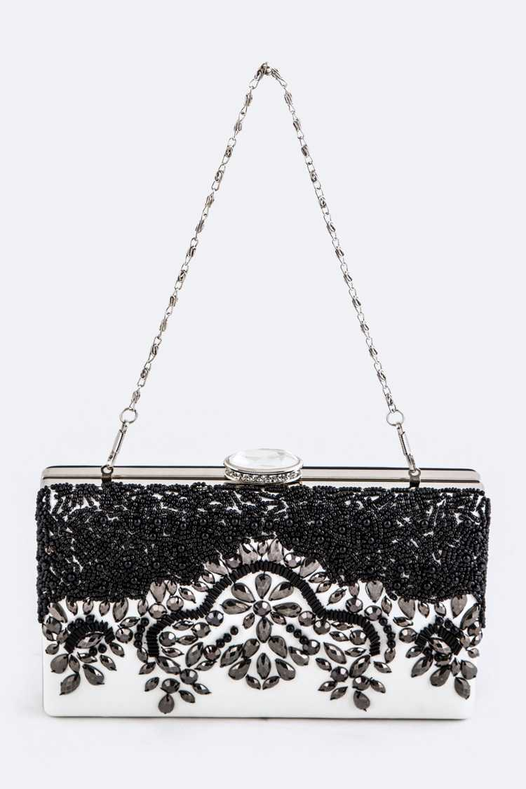 Crystal & Bead Embelished Box Clutch