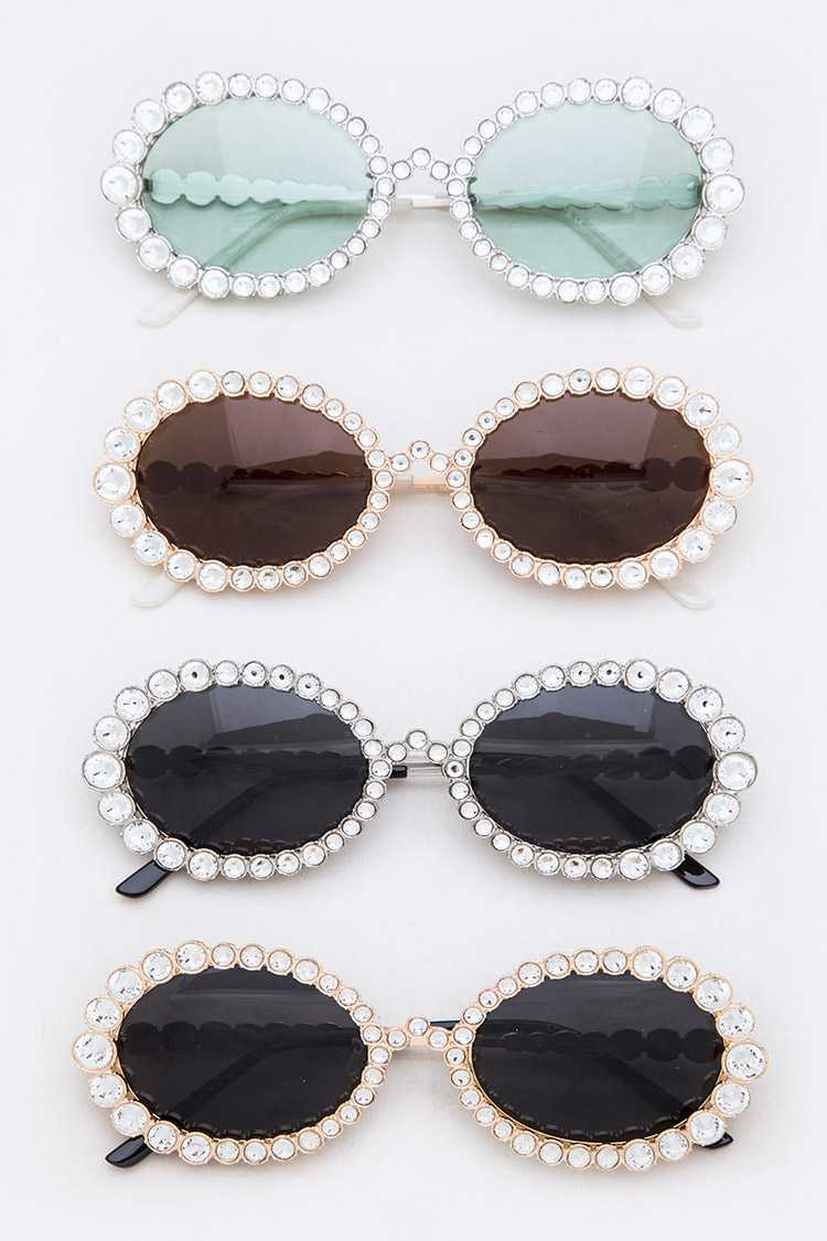 Crystal Accent Round Sunglasses Set