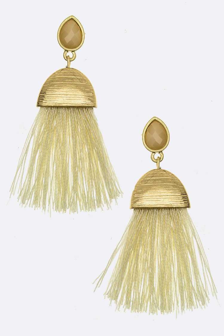 Crystal Teardrop & Iconic Tassel Earrings
