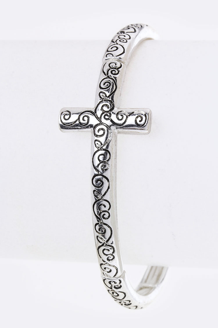 Filigree Engraving Metal Cross Stretch Bracelet