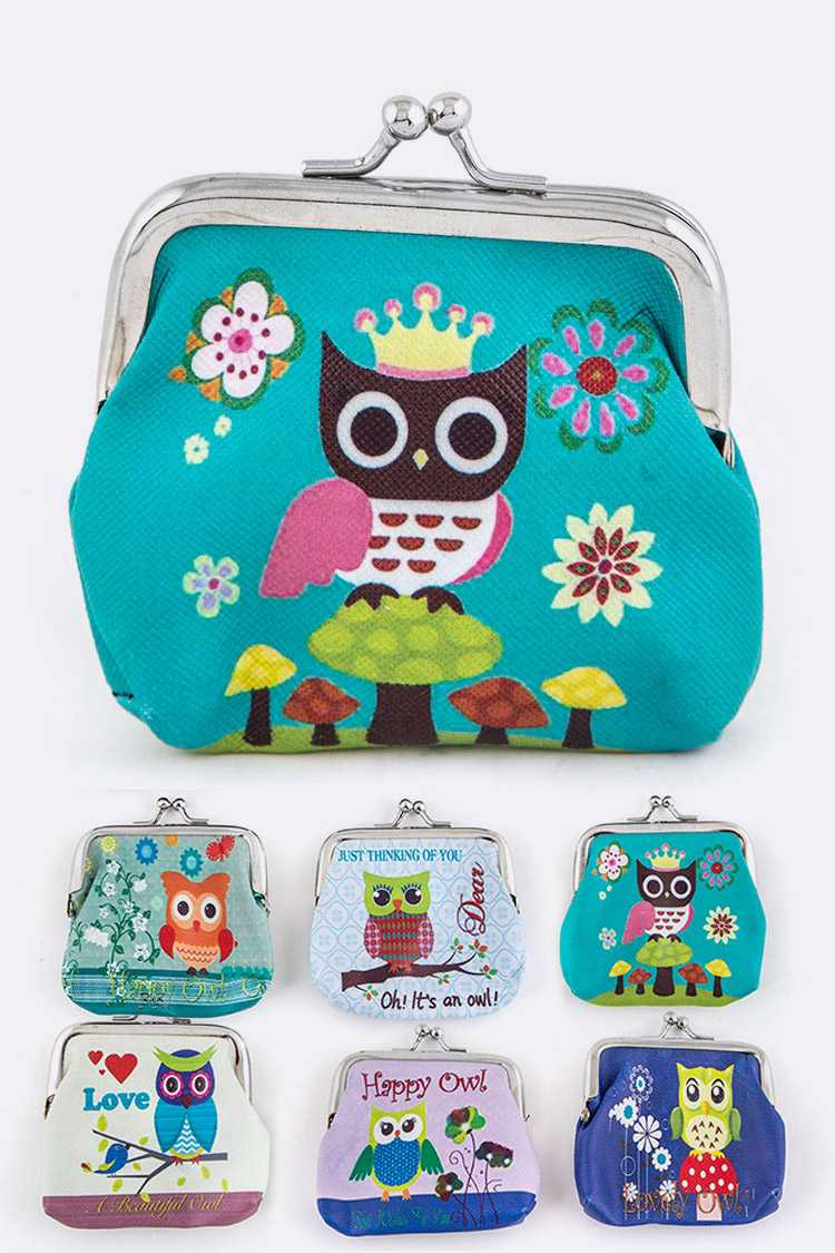 Assorted Comic Owl Print Coin Purses Set