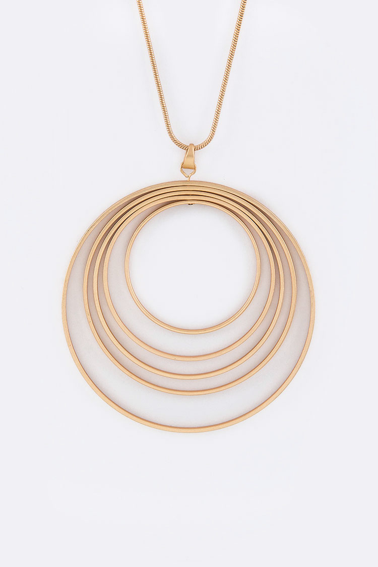 Layer Hoops Pendant Necklace Set