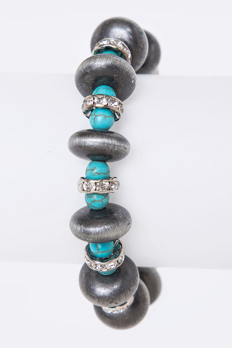 Navajo Beads & Crystal Hoops Stretch Bracelet
