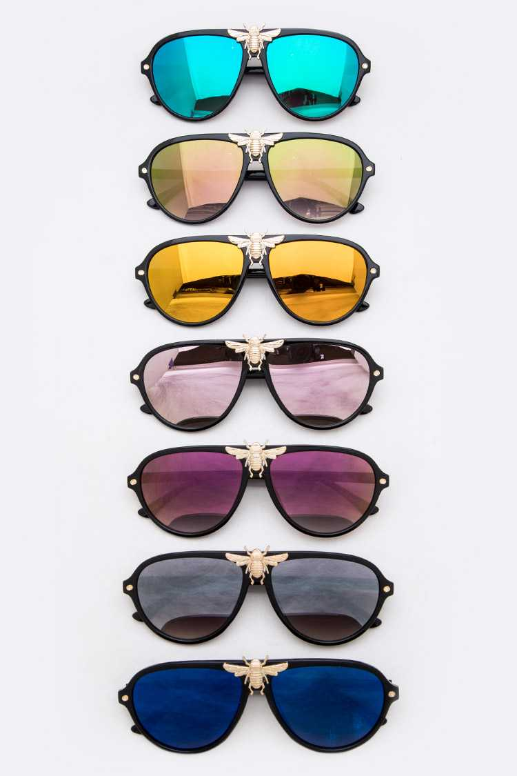 Golden Bee Aviator Sunglasses Set