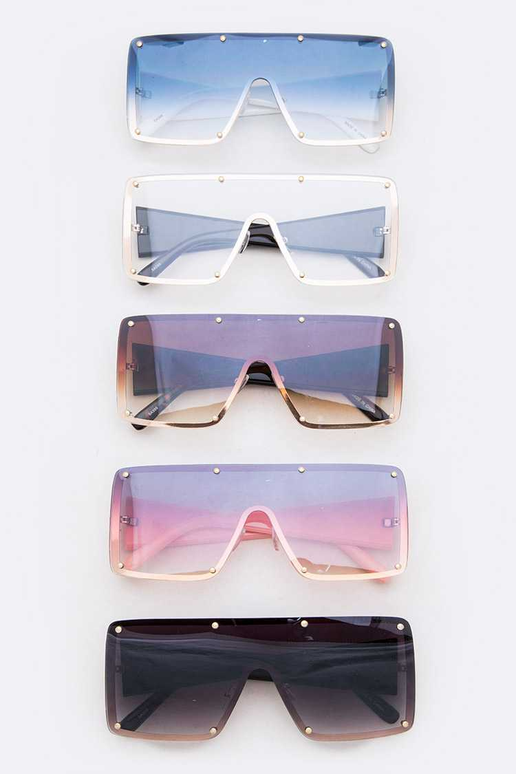 Texture Temple Shield Inspired Sunglasses Set