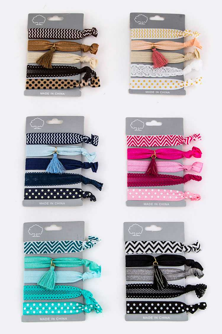 Mix Print & Tasseled Hair Ties Set