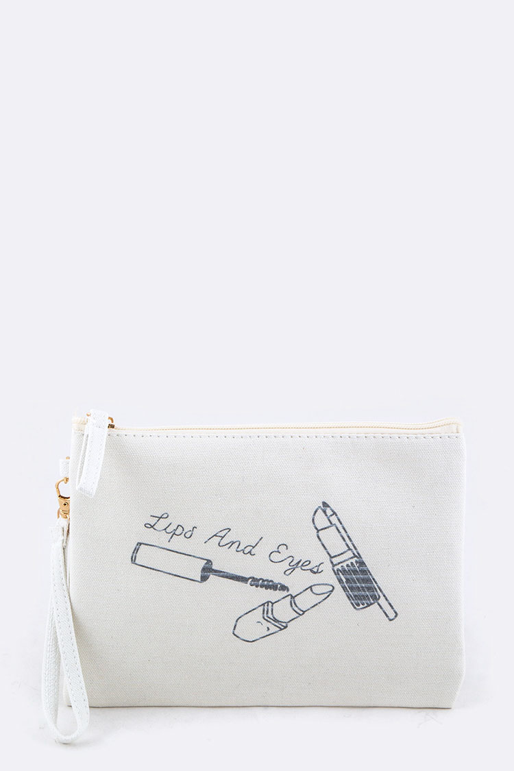 Lips & Eyes Canvas Pouch