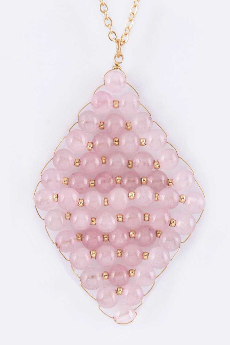 Semi Precious Beads Rhombus Pendant Necklace