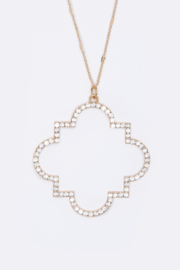 Quatrefoil Crystal Pendant Necklace