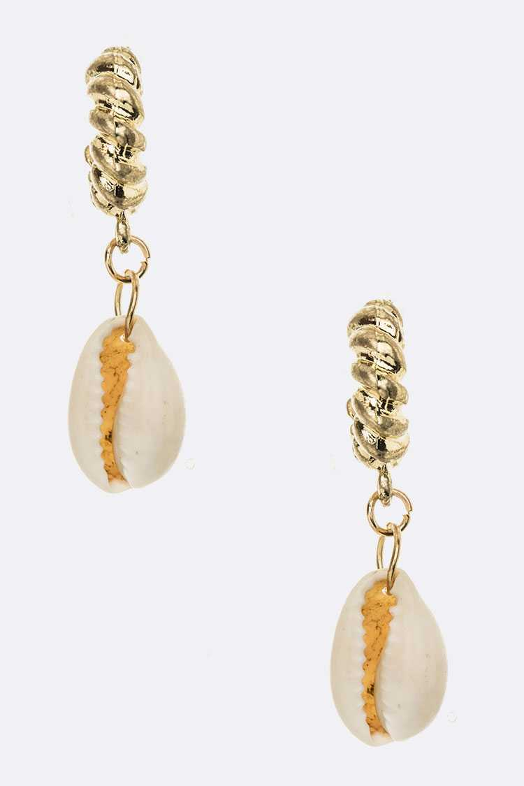 Genuine Sea Shell Drop Texture Hoop Earrings