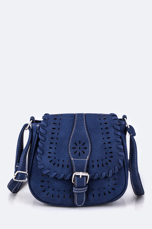 Perforated Leather Crossbody Swing Bag