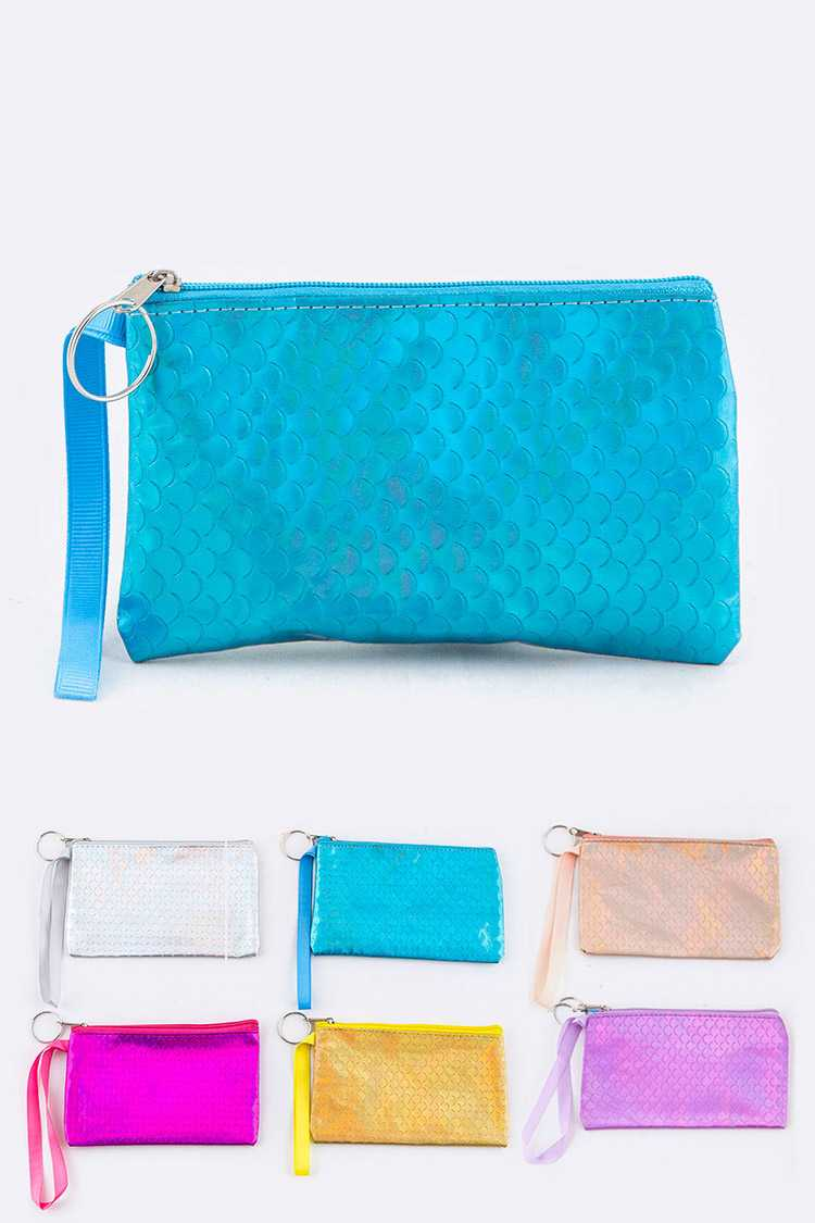Scale Textured Holographic Pouches Set
