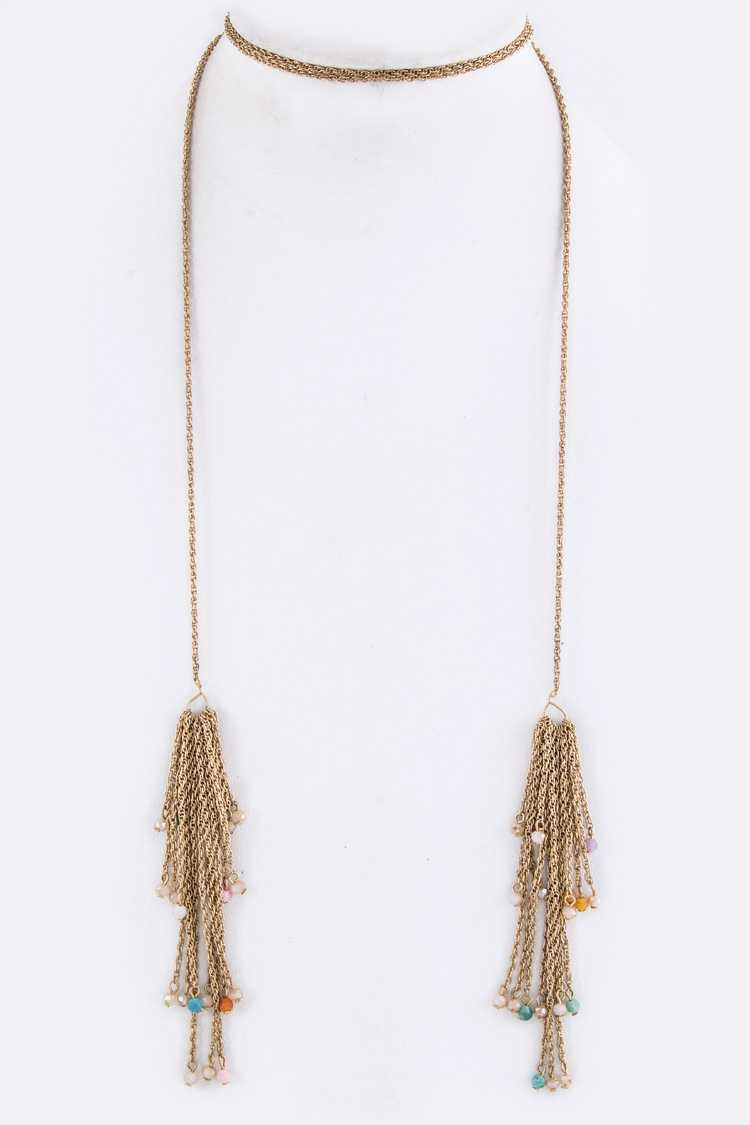 Beaded Chain Tassel Convertible Wrap Around Choker Necklace