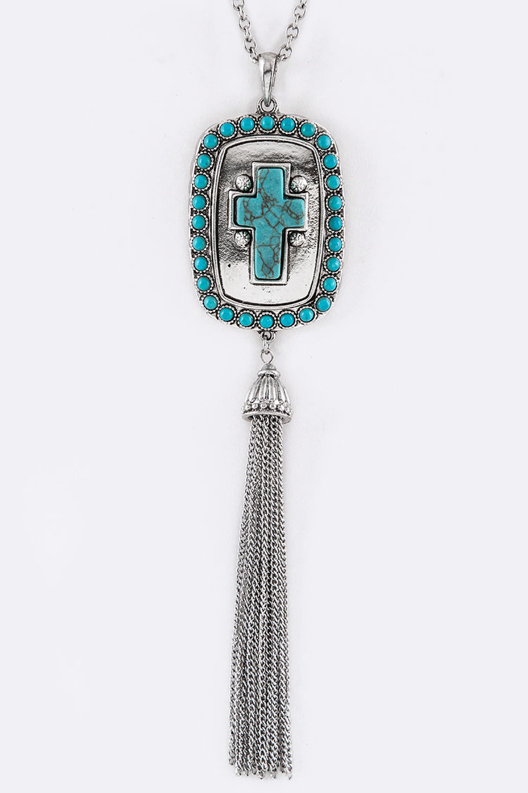 Turquoise Cross Tag & Tassel Necklace