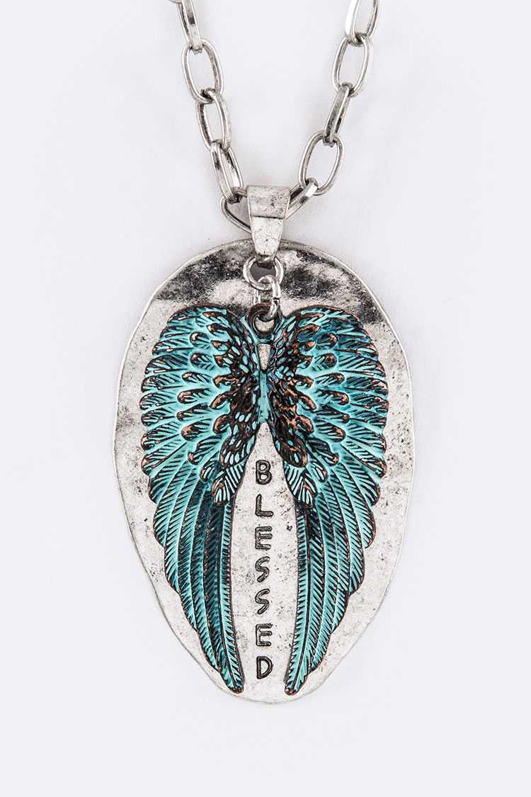 BLESSED Tag & Wings Charm Necklace