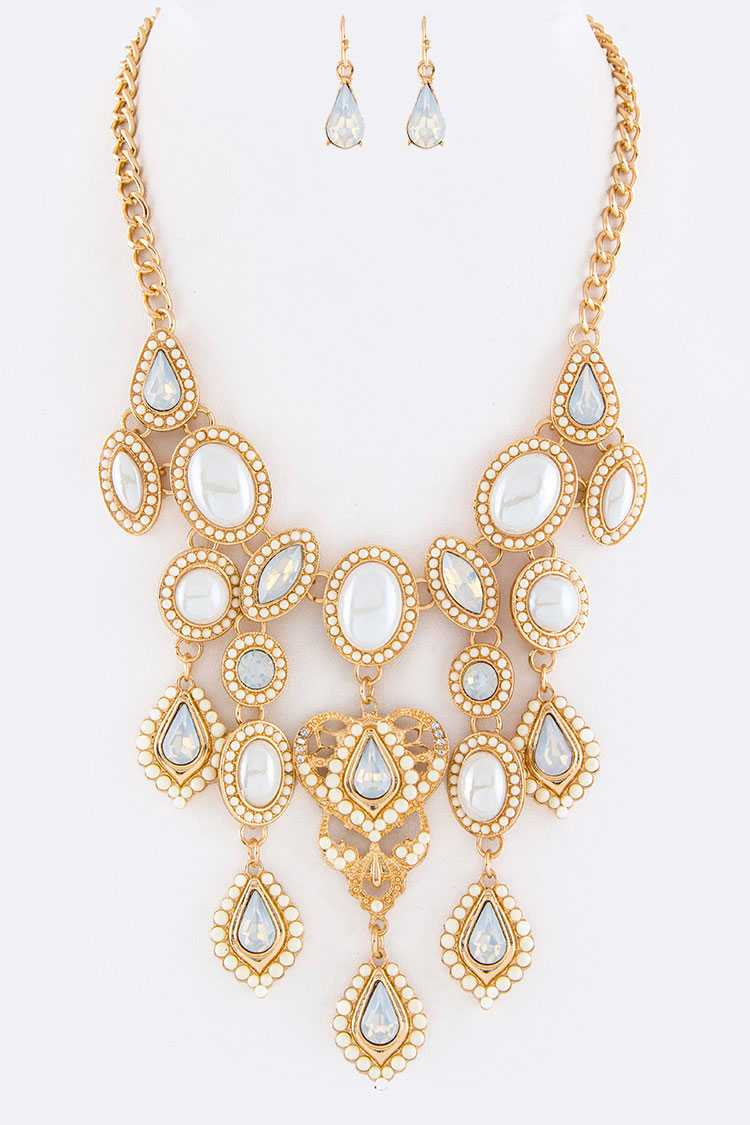 Mix Crystals & Pearl Statement Necklace Set