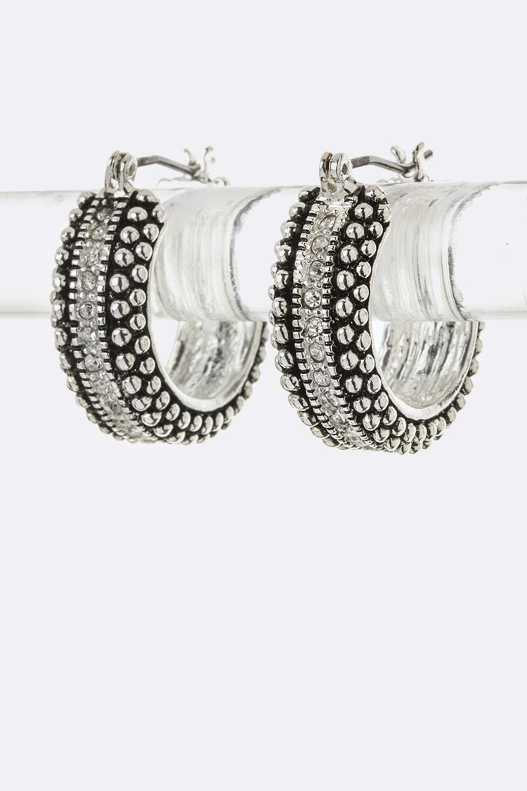 Pave Crystal & Bubble Textured Hoop Earrings