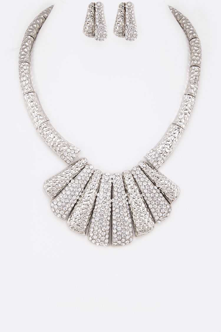 Crystal Bar Statement Necklace Set