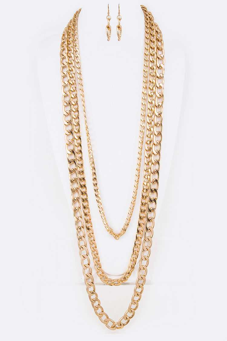 Long Chunky Layer Necklace Set
