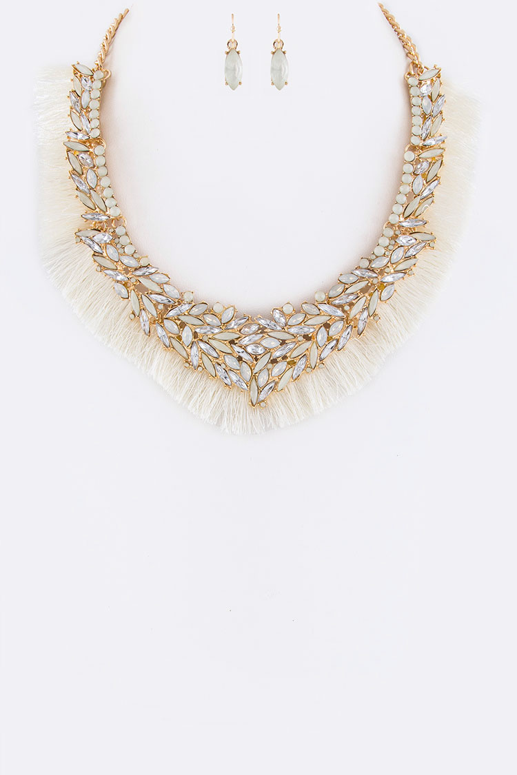 Mix Crystals & Fringe Fabric Statement Necklace Set