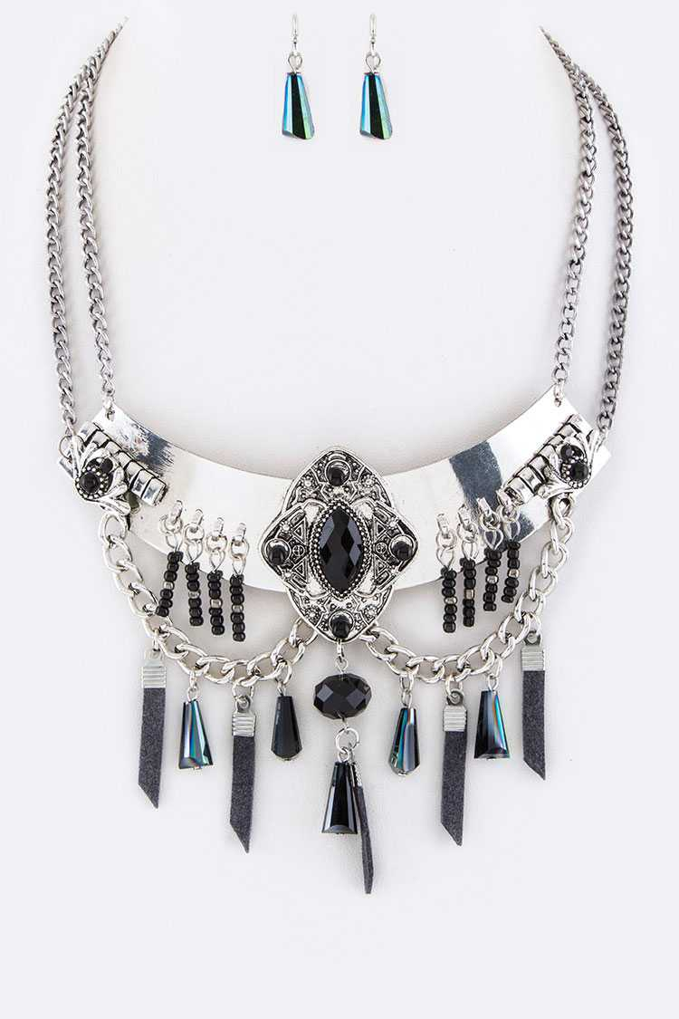 Fringe Charms Metal Collar Necklace Set
