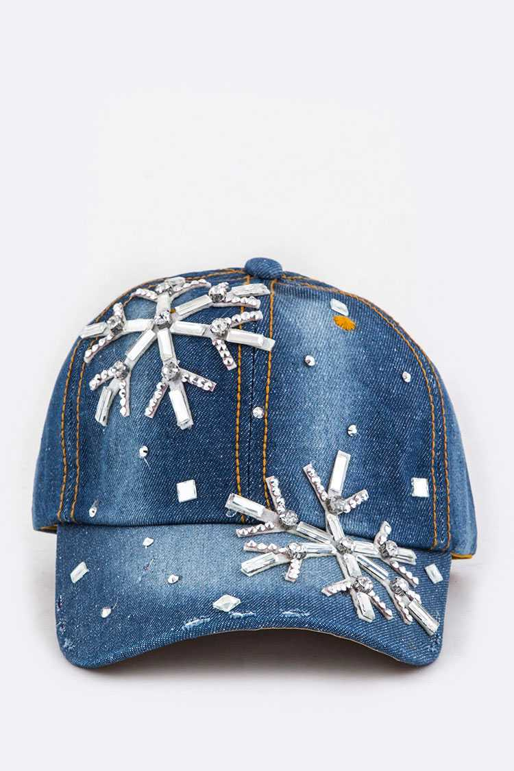 Crystal Snowflake Embelished Fashion Denim Cap