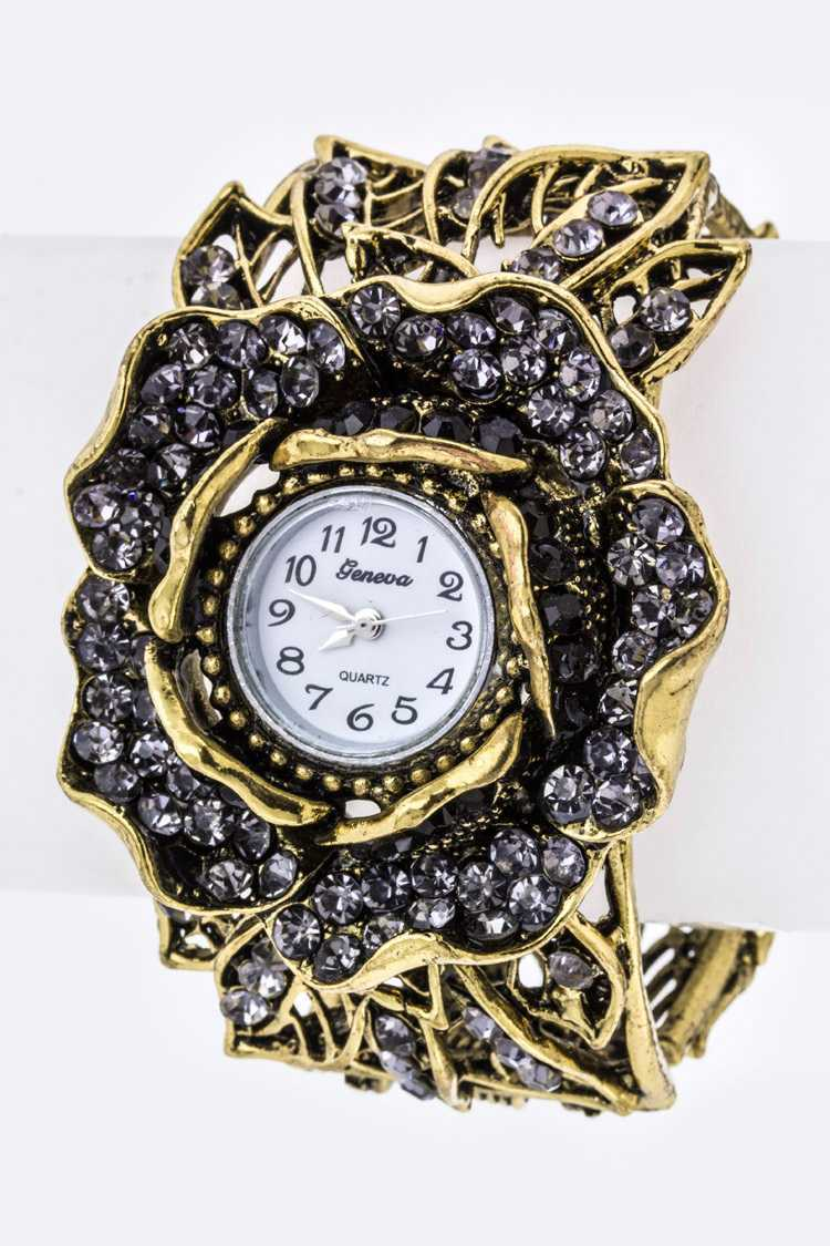 Vintage Inspired Flower Cut-Out Bangle Watch