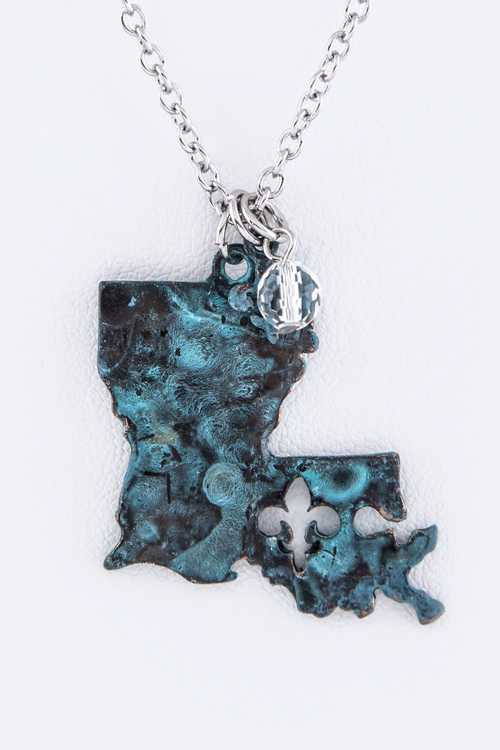 Vintage Louisiana Map Pendant Necklace