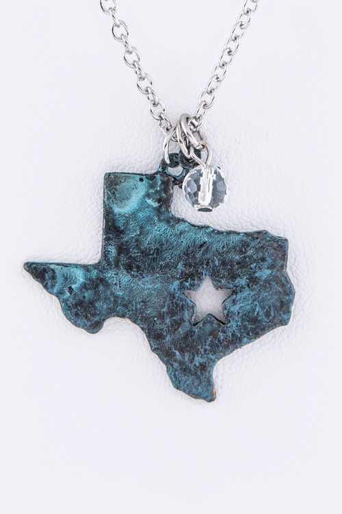 Vintage Texas Map Pendant Necklace