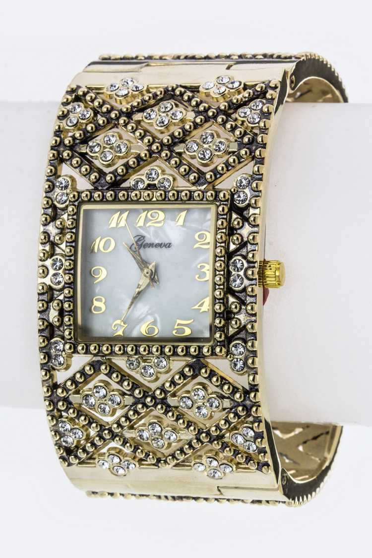 Crystal Studded Square Bangle Watch