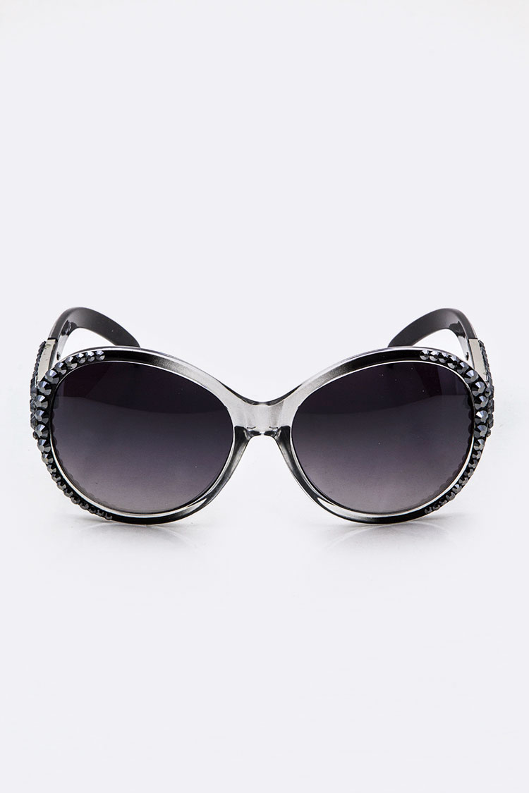 Crystal Ornate Oval Fashion Sunglasses