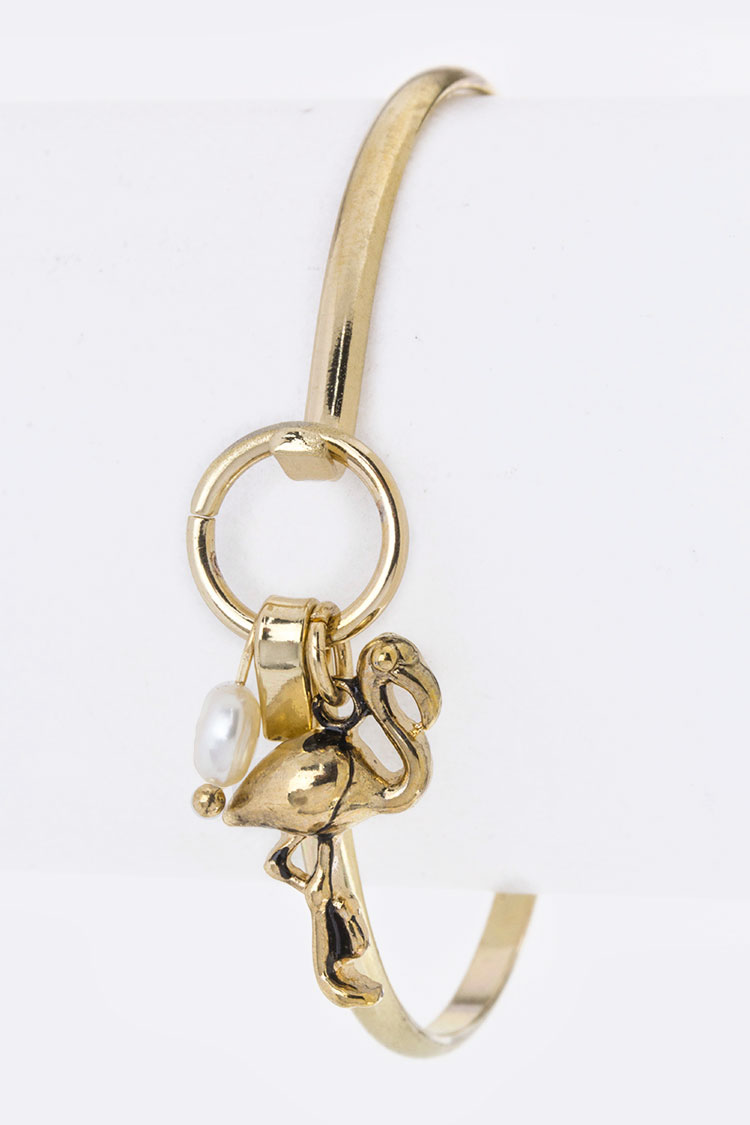 Flamingo Charm Hook Bangle