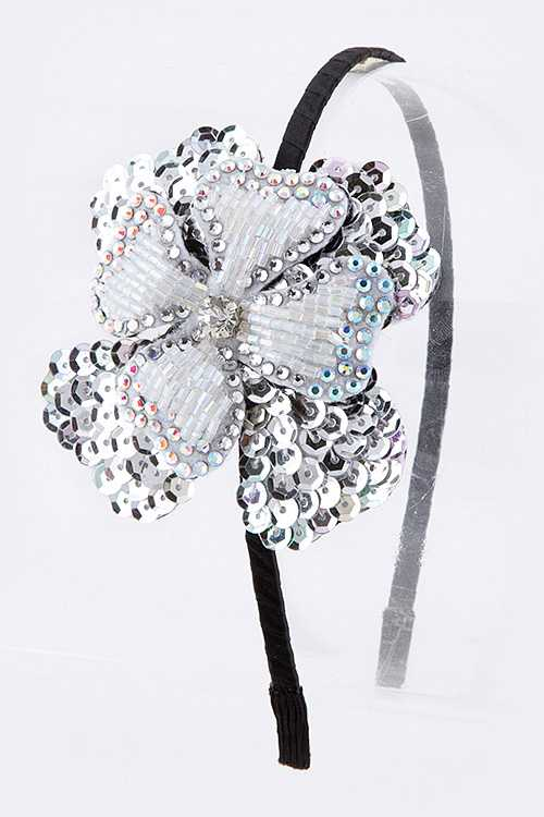 Beaded Sequins Double Flower Headband
