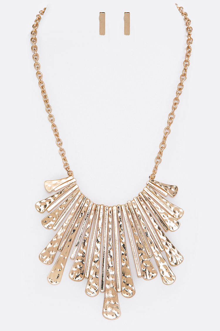 Hammered Fringe Bar Statement Necklace Set