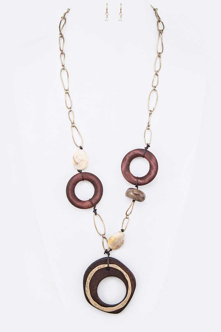 Wood and Beads Station Pendant Necklace Set