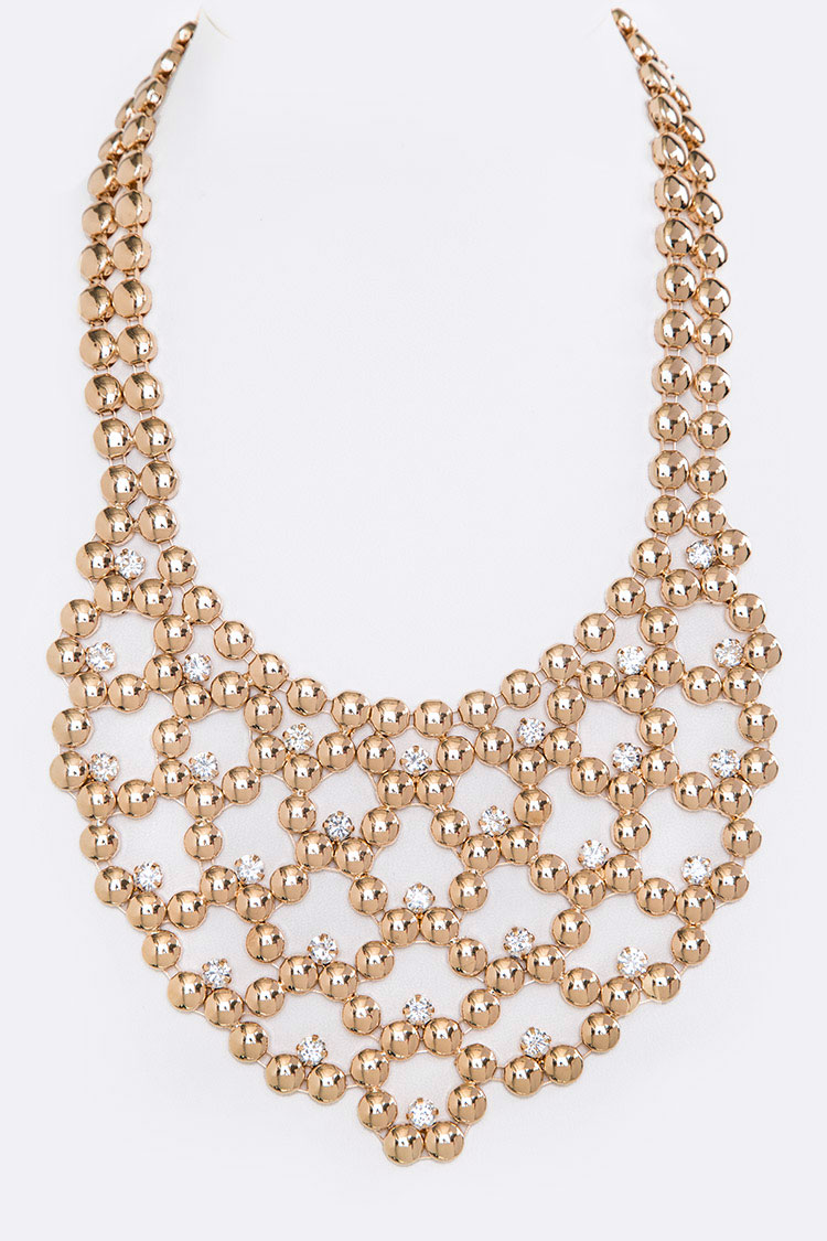 Crystal & Disk Bib Iconic Necklace Set