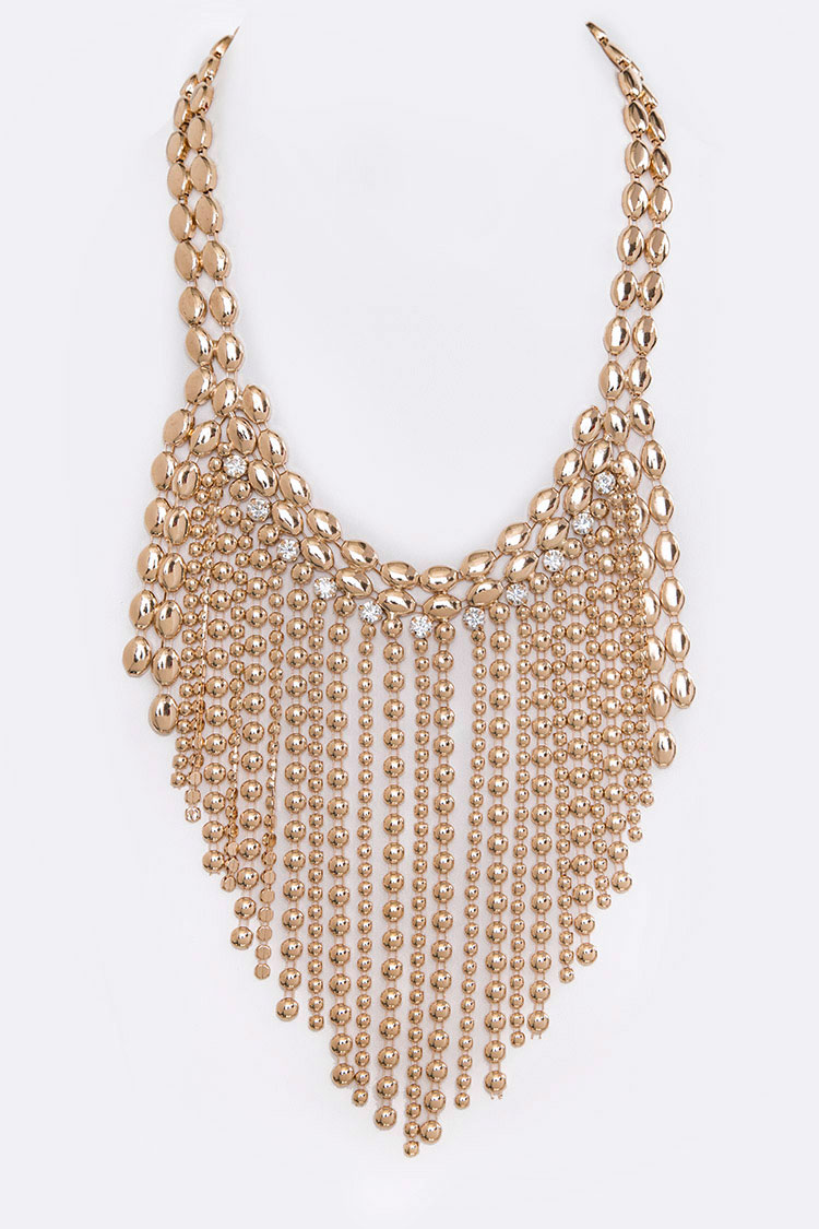 Disk & Ball Chain Statement Necklace