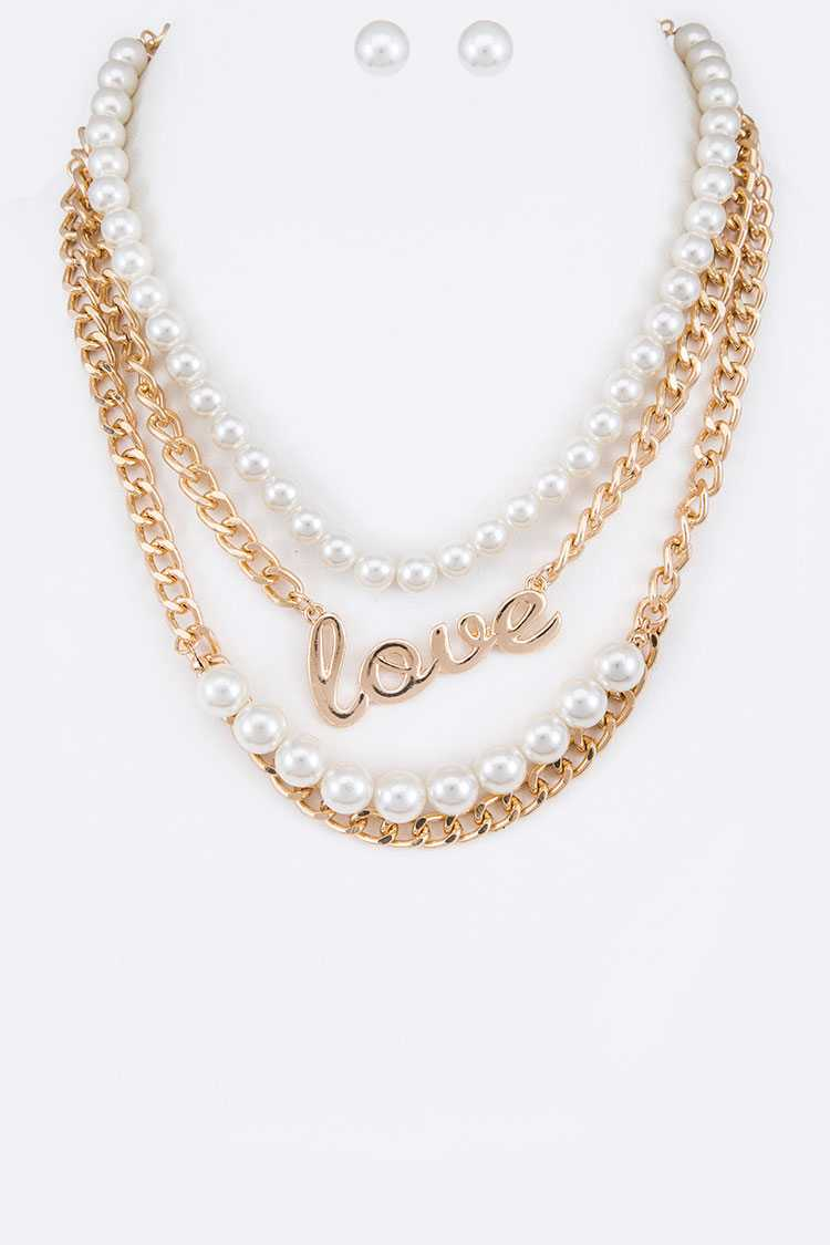 LOVE Pendant Pearl Strand Mix Chain Necklace Set