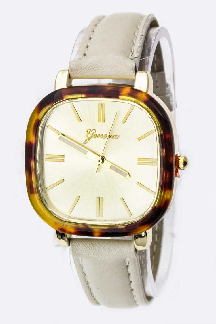 Tortoise Frame Square Leather Strap Watch