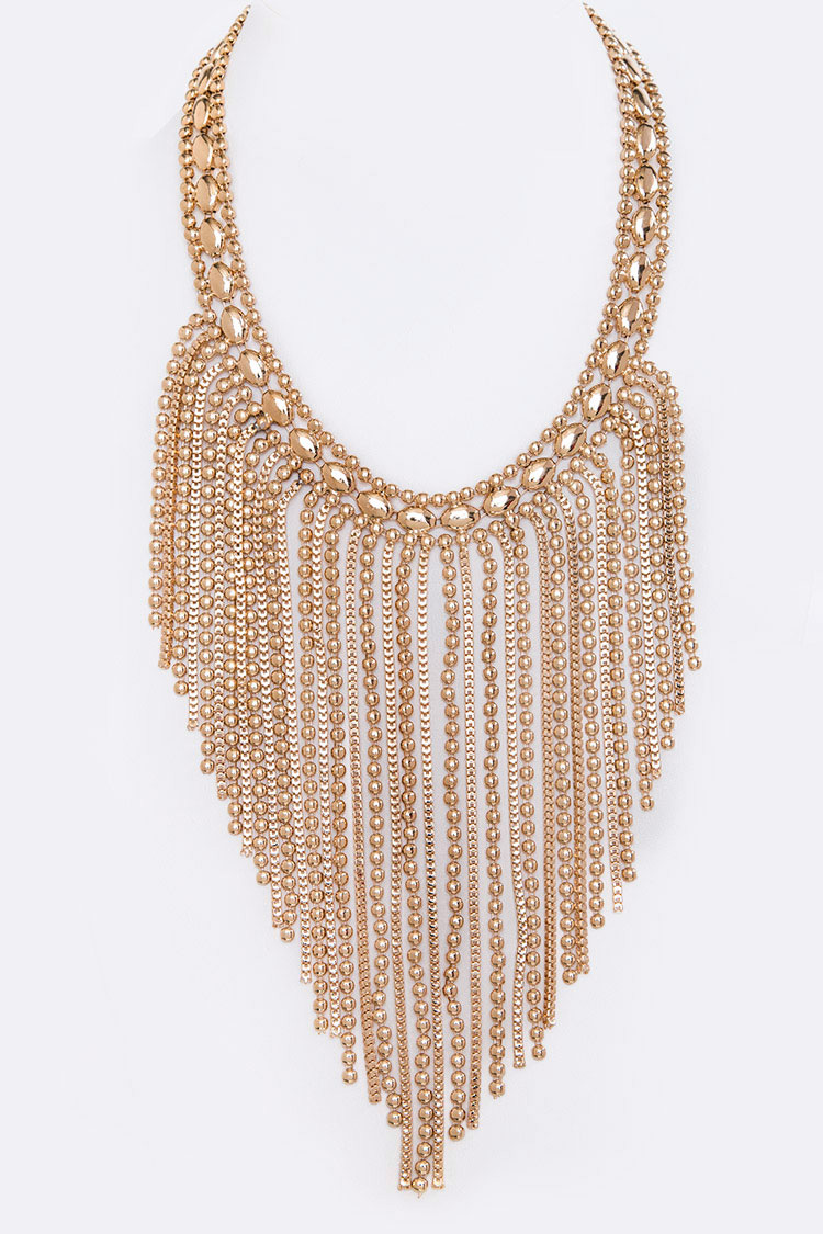Mix  Chain Statement Fringe Necklace