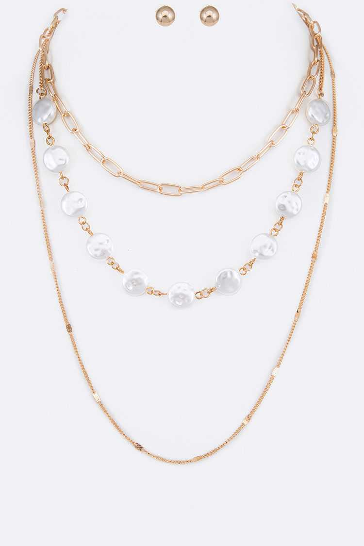Coin Pearl Layer Mix Chain Necklace Set