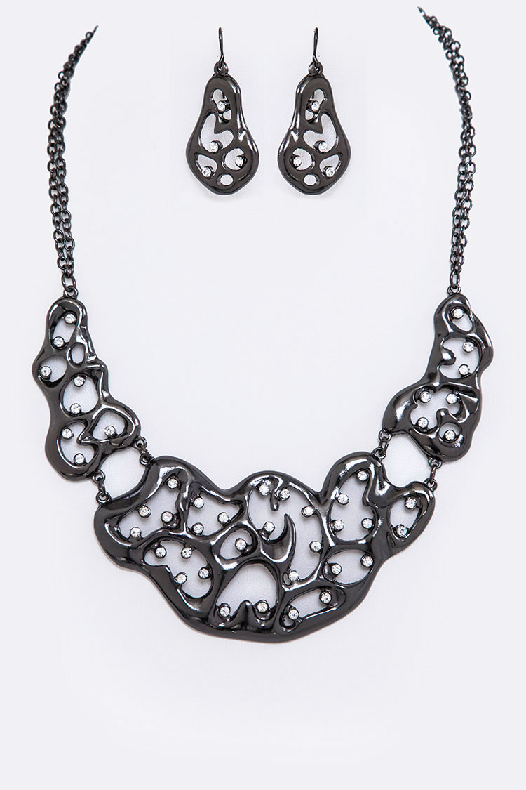 Crystal Glitz Statement Cutout Necklace Set