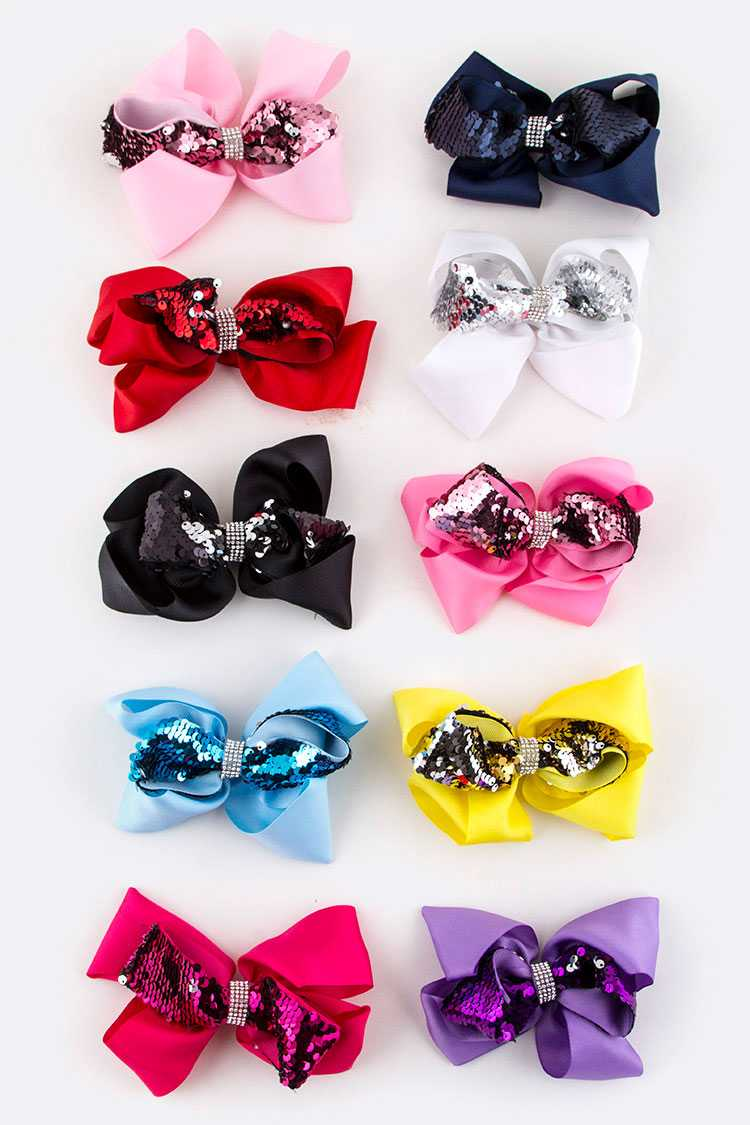 Sequins Bow Hair Clips Set