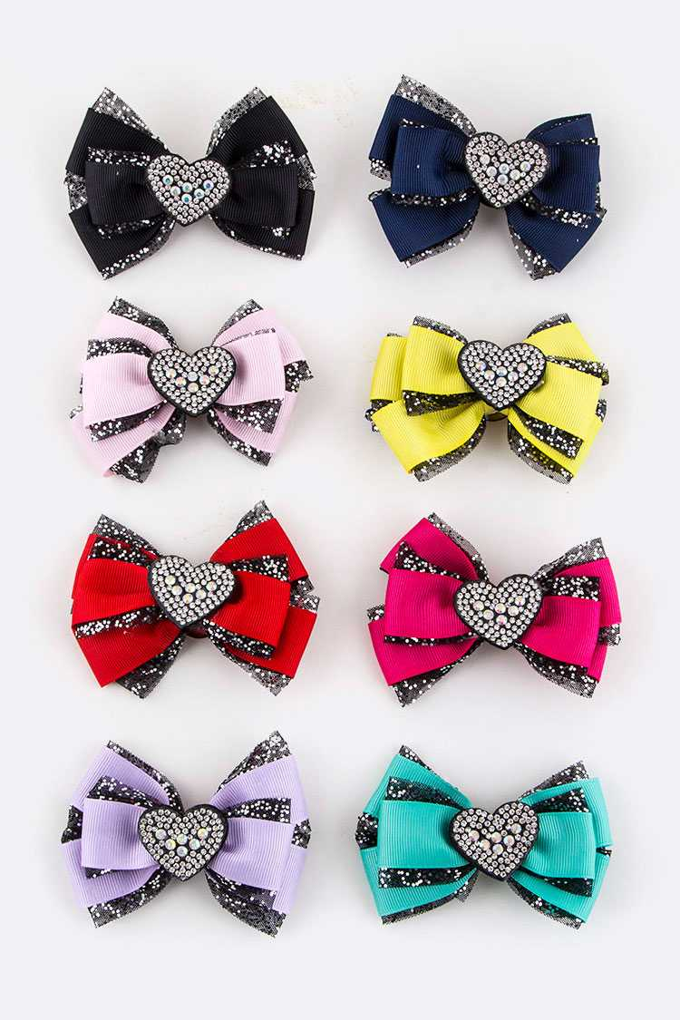 Crystal Heart Bow Hair Clips Set