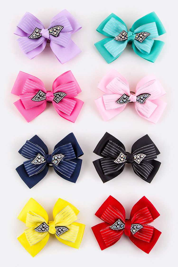 Crystal Bow Hair Clips Set