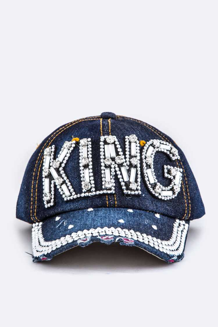Crystal King Embelished Fashion Denim Cap