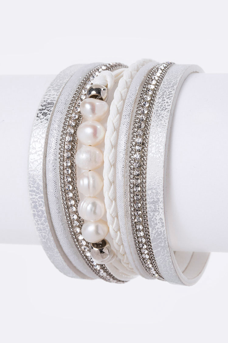 Pearl & Crystal Metallic Leather Bracelet